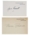 """Autographs:U.S. Presidents, Eleanor and James Roosevelt White House Cards Signed """"EleanorRoosevelt"""" and """"James Roosevelt""""...."""
