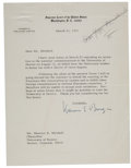 "Autographs:Statesmen, Warren E. Burger Typed Letter Signed as Chief Justice of theSupreme Court ""Warren E. Burger""...."
