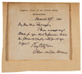 "Autographs:Statesmen, Oliver Wendell Holmes, Jr. Autograph Note Signed in full as SupremeCourt justice, one page, 4"" x 3.75"", on printed Supreme ..."