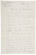 "Autographs:Celebrities, George M. Cohan Autograph Letter Signed Thanking the Recipient ""for the Dickensians"". Written in pencil, one pag..."