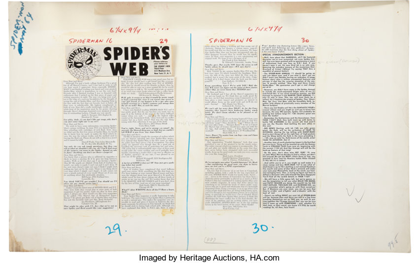 Amazing Spider-Man #16 Spider's Web Letter Page Production Art | Lot
