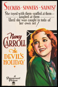 "Movie Posters:Drama, The Devil's Holiday (Paramount, 1930). One Sheet (26"" X 40"").. ..."