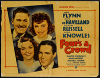 """Four's a Crowd (Warner Brothers, 1938). Half Sheet (21.5"""" X 27.75"""") Style A. Comedy"""