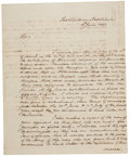 """Autographs:Military Figures, William Freeman Autograph Letter Signed, Fort Claiborne, Natchitoches [Louisiana]. Two pages, 8"""" x 10"""", June 4, 1808. The li..."""