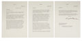 "Autographs:U.S. Presidents, Dwight D. Eisenhower Typed Letter Signed. Three pages, recto only,7"" x 10.5"", on his personal gilt-embossed letterhead, Get..."