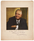 Autographs:U.S. Presidents, Herbert Hoover Photograph Inscribed and Signed. Full color image ofHoover circa 1960, inscribed to the widow of US Navy adm...