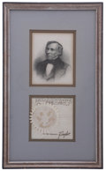 """Autographs:U.S. Presidents, Zachary Taylor Signature as President. Bold ink signature beneath ablind embossed paper seal. 4"""" x 4"""" (sight), elegantly ma..."""