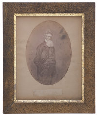 """Abolitionist John Brown Signature and Salt Print Image. Clipped signature """"Your friend / John Brown"""", on a"""