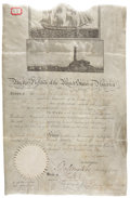 """Autographs:U.S. Presidents, James Madison Signed Scallop Top Ship's Passport for the """"BrigFox of New York"""". Large vellum sheet, 10"""" x 15.5"""", May 25..."""