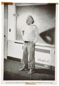 Autographs:Inventors, Albert Einstein Printed Photograph Signed Twice. Unusual two-sidedprinted image of the great physicist Albert Einstein, in ...