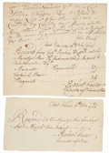 Autographs:Military Figures, French and Indian War: Two Receipts for Arms. One receipt, dated November 19, 1756, from Fort Edward [New York], issued for ... (Total: 2 Items)