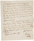 "Autographs:Statesmen, Henry Knox Autograph Document Signed ""H. Knox"". One page,7.5"" x 8.75"", December 27, 1797, defining a contract between K..."