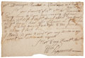 """Autographs:Statesmen, William Pepperrell Autograph Letter Signed """"Wm. Pepperrell"""".One page, 8"""" x 5.5"""", July 30, 1737, """"Piseataqua in N. Eng..."""
