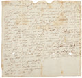 """Autographs:Statesmen, William Pepperrell Autograph Letter Signed """"Wm. Pepperrell.""""One page, 8.5"""" x 8.25"""", October 28, 1719, """"Pis[eataqua]..."""