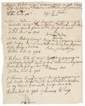 """Autographs:Military Figures, French and Indian War: Listing Pay Received by Five Soldiers in 1756. One page, 6"""" x 7.5"""", with various dates from January a..."""