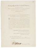 "Autographs:U.S. Presidents, Thomas Jefferson Document Printed Signed as Secretary of State. Onepage, 7.25"" x 10"", New York, August 10, 1790. Secretary ..."