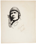 "Autographs:Celebrities, Charles Lindbergh Signed Original Pen and Ink Drawing, signed ""C.A. Lindbergh / Feb 6, 1928."" Drawing measures 10"" x 12""..."