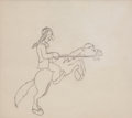 animation art:Production Drawing, Native American on Horseback Animation Production DrawingOriginal Art (Warner Bros., undated)....