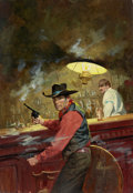 Pulp, Pulp-like, Digests, and Paperback Art, ROBERT MAGUIRE (American, 1921-2005). Shootout at the Bar,paperback cover. Oil on board. 22 x 15 in.. Signed lowerrigh...