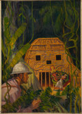 Paintings, AMERICAN ARTIST (20th Century). Jungle Scene. Oil on canvas. 31.5 x 22.75 in.. Not signed. ...