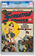 Golden Age (1938-1955):Superhero, Sensation Comics #1 (DC, 1942) CGC VG/FN 5.0 Off-white to white pages....