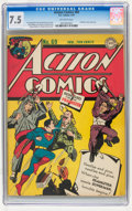 Golden Age (1938-1955):Superhero, Action Comics #69 (DC, 1944) CGC VF- 7.5 Off-white pages....