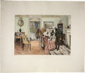 Books:First Editions, W. Dendy Sadler. For Fifty Years. London: L. H. Lefevre,1894. Hand-colored print of a domestic scene measuring app...