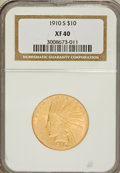 Indian Eagles: , 1910-S $10 XF40 NGC. NGC Census: (12/1043). PCGS Population(27/1152). Mintage: 811,000. Numismedia Wsl. Price for problem ...