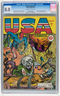 Golden Age (1938-1955):Superhero, USA Comics #1 (Timely, 1941) CGC VF 8.0 Off-white to white pages....
