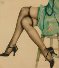 Pin-up and Glamour Art, ALBERTO VARGAS (American, 1896-1982). Black Stockings.Watercolor on paper. 18 x 16 in.. Signed upper left. ...