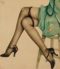 ALBERTO VARGAS (American, 1896-1982) Black Stockings Watercolor on paper 18 x 16 in. Signed up