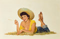 Pin-up and Glamour Art, ROBERT BERRAN (American, 20th Century). Pin-Up in Straw Hat.Oil on board. 24 x 36 in.. Signed lower right. ...
