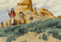 Mainstream Illustration, STANLEY BORACK (American, b. 1927). Apache Raiders. Oil onboard. 21.25 x 31 in.. Signed lower right. ...