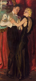 Paintings, TOM WEBB (American, 20th Century). A Dancing Couple. Oil on canvas. 39 x 18 in.. Signed lower right. ...