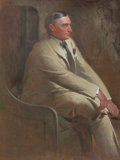 Mainstream Illustration, JOHN WHITE ALEXANDER (American, 1856-1915). Portrait of WilliamDenny, 1902. Oil on canvas. 48 x 36 in.. Signed lower le...