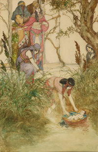 WILLY POGANY (Hungarian-American, 1882-1955) Moses, Child of the Nile Watercolor on paper 13.25 x