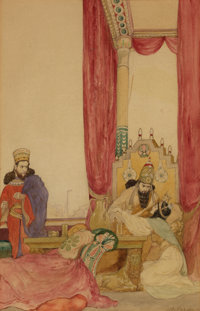 WILLY POGANY (Hungarian-American, 1882-1955) Biblical story Watercolor on paper 13 x 8.5 in. S