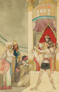 WILLY POGANY (Hungarian-American, 1882-1955) The Judgement of Solomon Watercolor on paper 13.25 x