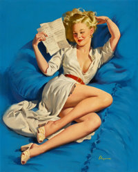 GIL ELVGREN (American, 1914-1980) He Thinks I'm Too Good to Be True, 1947 Oil on canvas 29.5 x 23