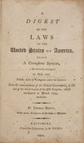 Books:Early Printing, Thomas Herty. A Digest of the Laws of the United States ofAmerica. Being a Complete System, (AlphabeticallyArran...