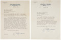 Autographs:Celebrities, Two J. Edgar Hoover Typed Letters Signed as FBI Director. Eachletter is typed on Hoover's personal Federal Bureau of Invest...