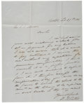 "Autographs:Statesmen, Benjamin Curtis Autograph Letter Signed. Two pages includingintegral address leaf, on blue stationery, recto only, 7.75"" x ..."