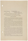 """Miscellaneous:Ephemera, [Abraham Lincoln] The Emancipation Proclamation: General OrdersNo. 1. Two pages, recto and verso, 5"""" x 7.5"""", n...."""