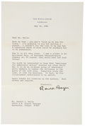 "Autographs:U.S. Presidents, Ronald Reagan Typed Letter Signed as President. One page, 7"" x 10.5"", on official White House letterhead, Washington DC, May..."