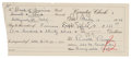 """Autographs:U.S. Presidents, Ronald Reagan Bank Counter Check Accomplished and Signed. One page,approximately 8"""" x 3.5"""", Furnace Creek CA, March 13, 194..."""