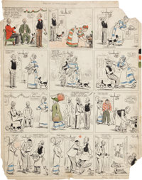 Frederick Opper Howson Lott Hand Colored Sunday Comic Strip Original Art (King Features Syndicate, undated)