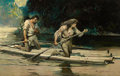 Mainstream Illustration, FRANK EARLE SCHOONOVER (American, 1877-1972). On Drifted a ShortRaft Carrying a Man and a Maid, Country Gentleman illustr...