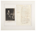 "Autographs:Statesmen, John Hancock Document Signed Twice as governor of Massachusetts.One page partly printed, 9.25"" x 14.75"", April 10, 1789, Bo..."