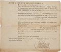 Autographs:U.S. Presidents, [George Washington - Mount Vernon] Partly Printed Certificate of Freedom for Norman Washington, a Black man born in Mount Ver...