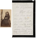 Autographs:U.S. Presidents, Mary Todd Lincoln Autograph Letter Signed with Carte deVisite and Elizabeth Keckley Book. The black-bordered le...(Total: 3 Items)